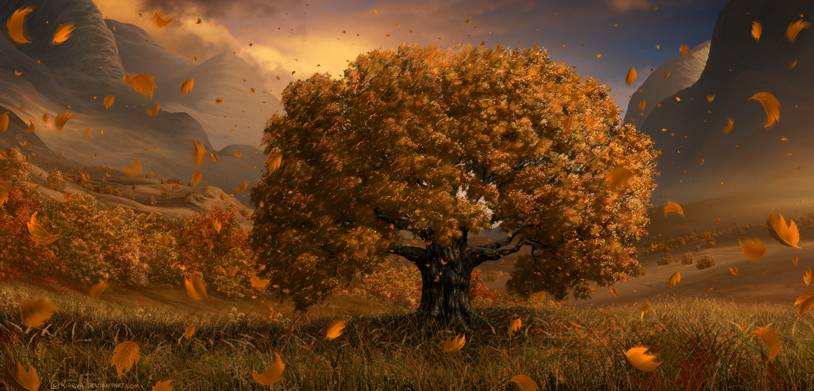 trees-leaves-wind-pretty-sunset-grass-mountain-artwork-1600x768
